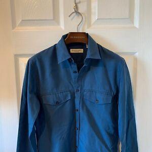 Burberry-London-Para-Hombre-camisa-de-mangas-largas-Azul-Marino-XS