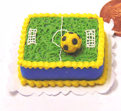 1:12 Scale Oblong Foot Ball Pitch Cake Dolls House Celebration Soccer Food NC92
