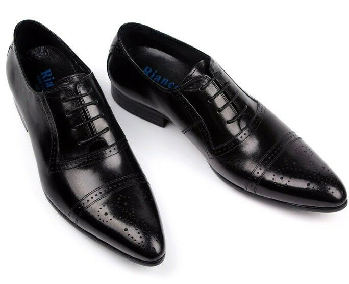 NEW Men's Cow Leather Shoes Dress/Formal Business R207~66 Brown Black 5~11 37~44