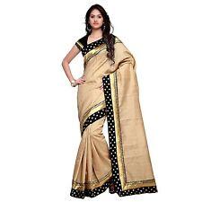 Indian Ethnic Printed Cotton Silk Beige Bollywood Saree Sari D.No SAR1303