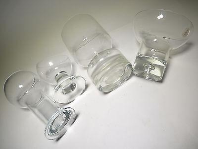 3x Glas Farblos Klar , Vase Kerzenhalter Anbietschale , 70s 70er Space Age Ufo Ausgereifte Technologien