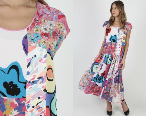 Vintage 80s Patchwork Floral Dress Bright Graphic