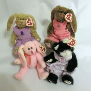 Ty Attic Treasures Lot of 4 Iris Rose Strawbunny Purrcy Jointed Vintage 1993