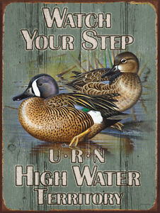 Watch-Your-Step-Birds-Ducks-Water-Fowl-Hunting-Lakes-Rivers-Ponds-Metal-Sign