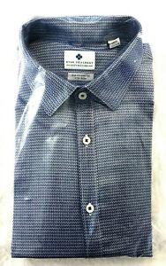 Ryan-Seacrest-Men-039-s-Slim-Fit-Dress-Shirt-Blue-Print-Size-16-5-32-33