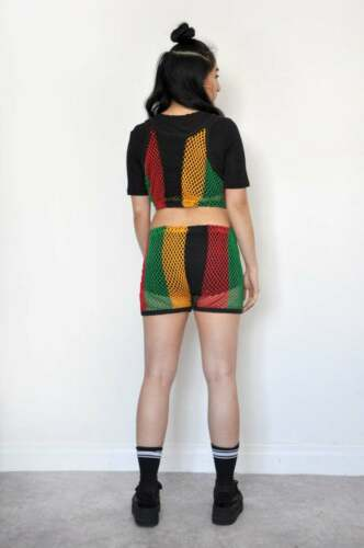 Rasta Reggae Crop Top Pantalon multicolore à rayures Maille See Through Rihanna Parti