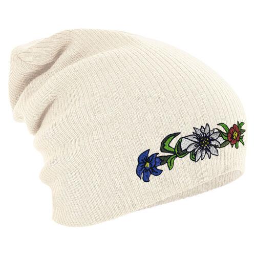 Long Beanie Winterbeanie Muetze Stick Alpenbluehn Edelweiss Enzian 54816 natur