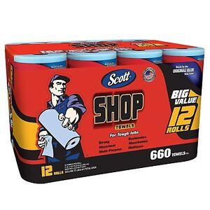 Scott Blue Original Multi Purpose Paper Shop Towels 12 Rolls Case 55 Sheets Roll