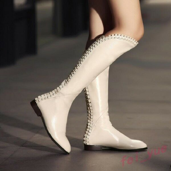 Women's Real Leather Flats Loose Knee High Boots Pointy Toe Zipper Riding shoes