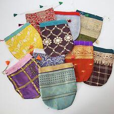 5 STK XXL-SCHMUCKBEUTEL Geschenkbeutel Beutel Säckchen Sari-Beutel indien
