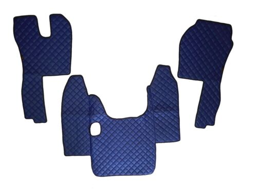 Blue Eco Leather Floor Mats for Scania R 2004/09 Manual Gearbox LHD Set of 3 pcs