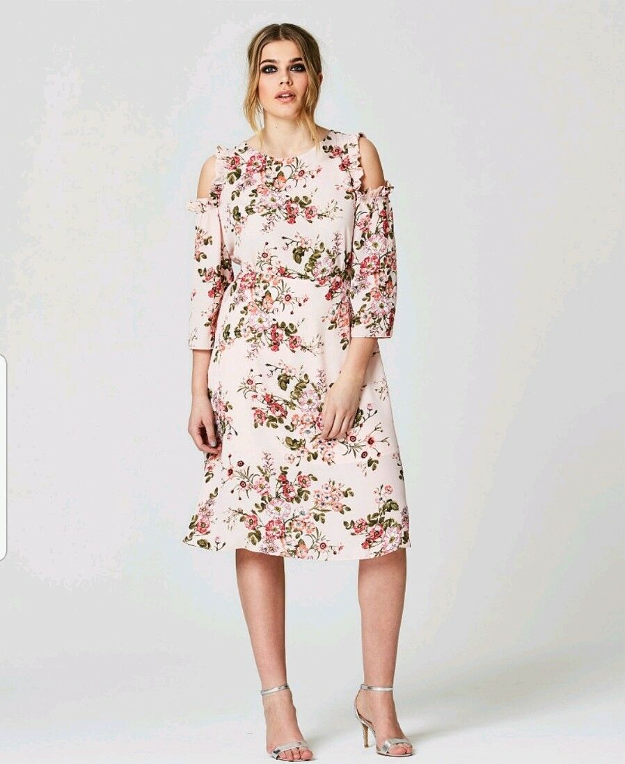 07bf5701a7d Be Floral Multi-Coloured Cold Shoulder Midi Plus Size 20 Simply ...