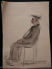 Dessin Original Aquarelle PAUL COUVREUR Portrait homme assis  PC118
