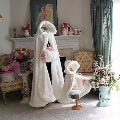 Cape Wedding Warm Bridal Trim Cloak Winter Hooded Winter Long Fur Girl with wwUIT