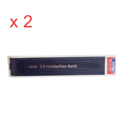 x 2 RED Lead JAVA 2.0mm German made for Drafting Drawing Art Sketching