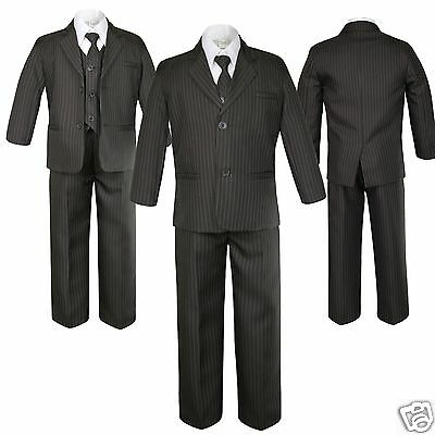5pc Boy Formal Wedding Party Brown Pinstripes Tuxedo Suit Baby Kid Teen sz S-12