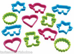 Kitchen-Craft-Set-Of-12-Heart-Hippo-Teddy-amp-More-Biscuit-amp-Pastry-Cutters