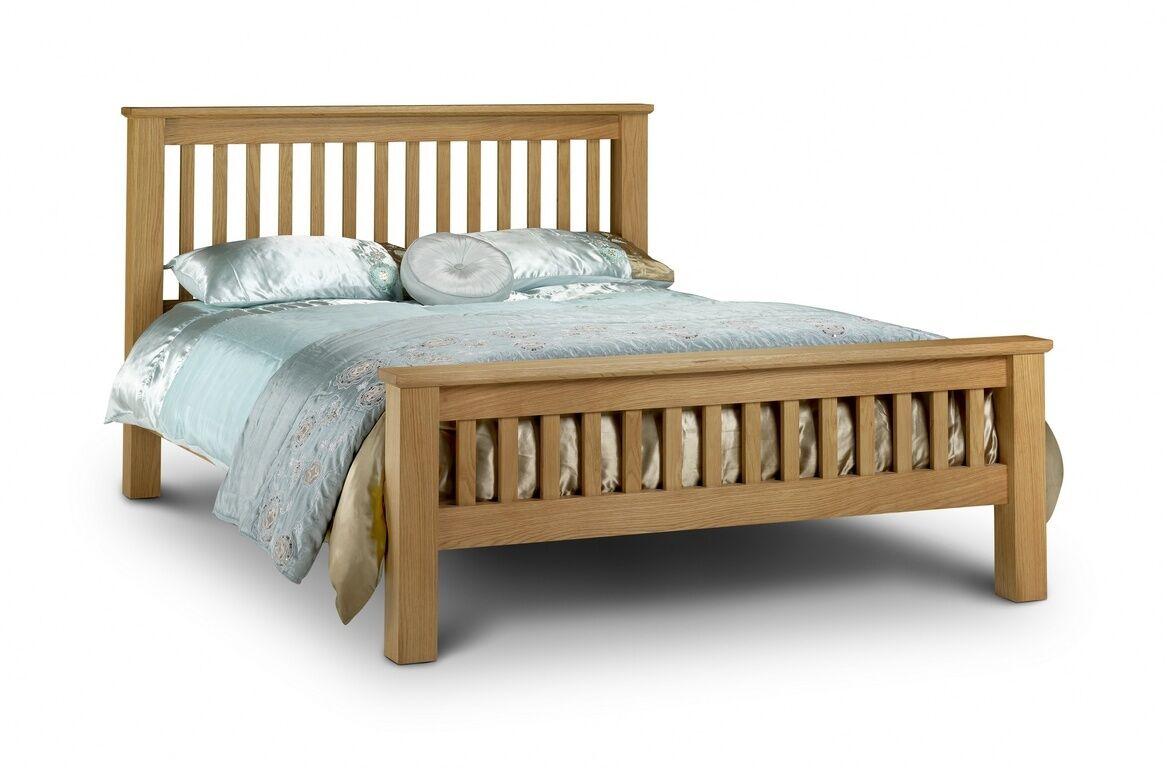 SOLID OAK SHAKER STYLE WOODEN BED 4FT6 5FT SLATTED HEADBOARD + MATTRESS OPTIONS