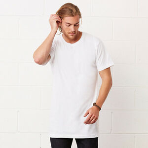Para-Hombres-Camiseta-extra-largo-alto-cuerpo-urbano-TEE-LLANO-TOP-Oferta-palangre-de-gran-tamano