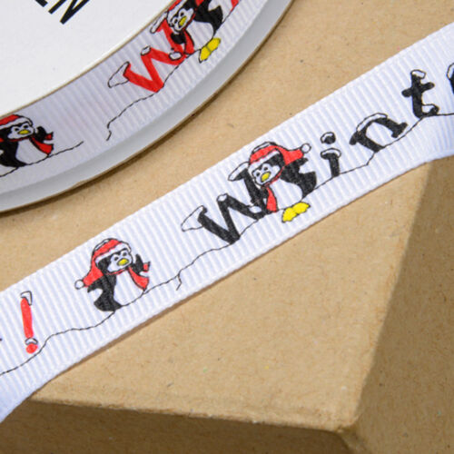 PENGUIN CHRISTMAS GROSGRAIN RIBBON 16mm wide
