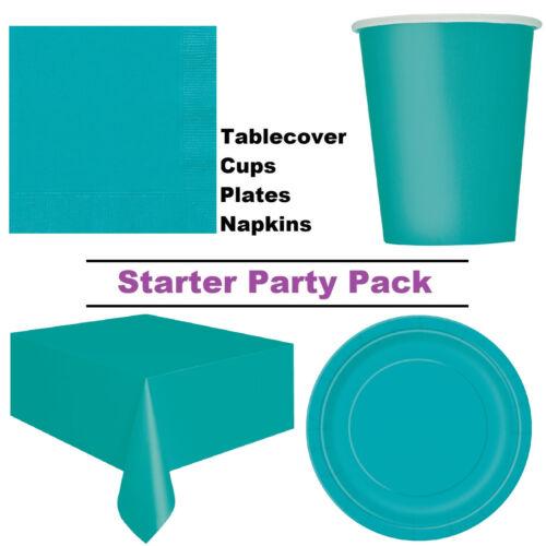 Bleu Sarcelle Turquiose 8-48 Invité Démarreur Party PacktassesPlaquesServiettes