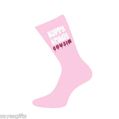 Happy Birthday Cousin Printed Design Ladies Pink Socks Birthday Gift