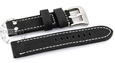 Kalbsleder-Flieger-Uhrenarmband-Modell-Belgrad-schwarz mit weißer Naht 20mm 26mm