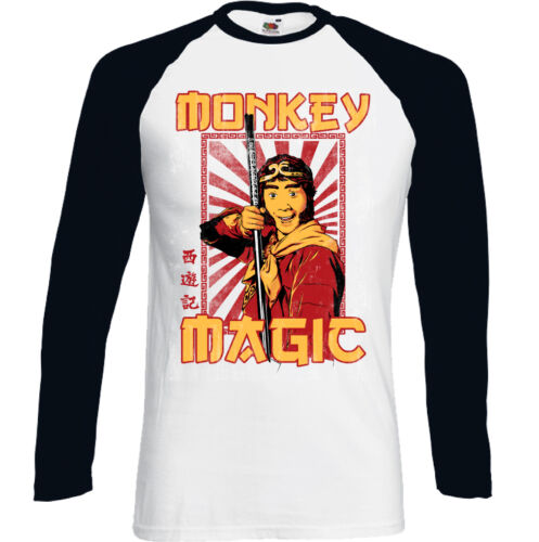 Herren Lustige Retro TV Programm Show Langärmeliges T-Shirt Affe Magic