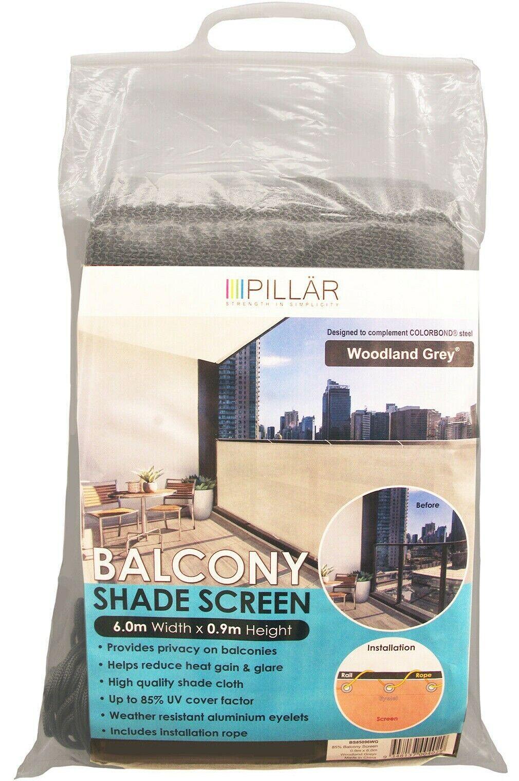 Pillar productos WOODLAND gris balcón pantalla 0.9x6m + instalación Cuerda  AUS marca