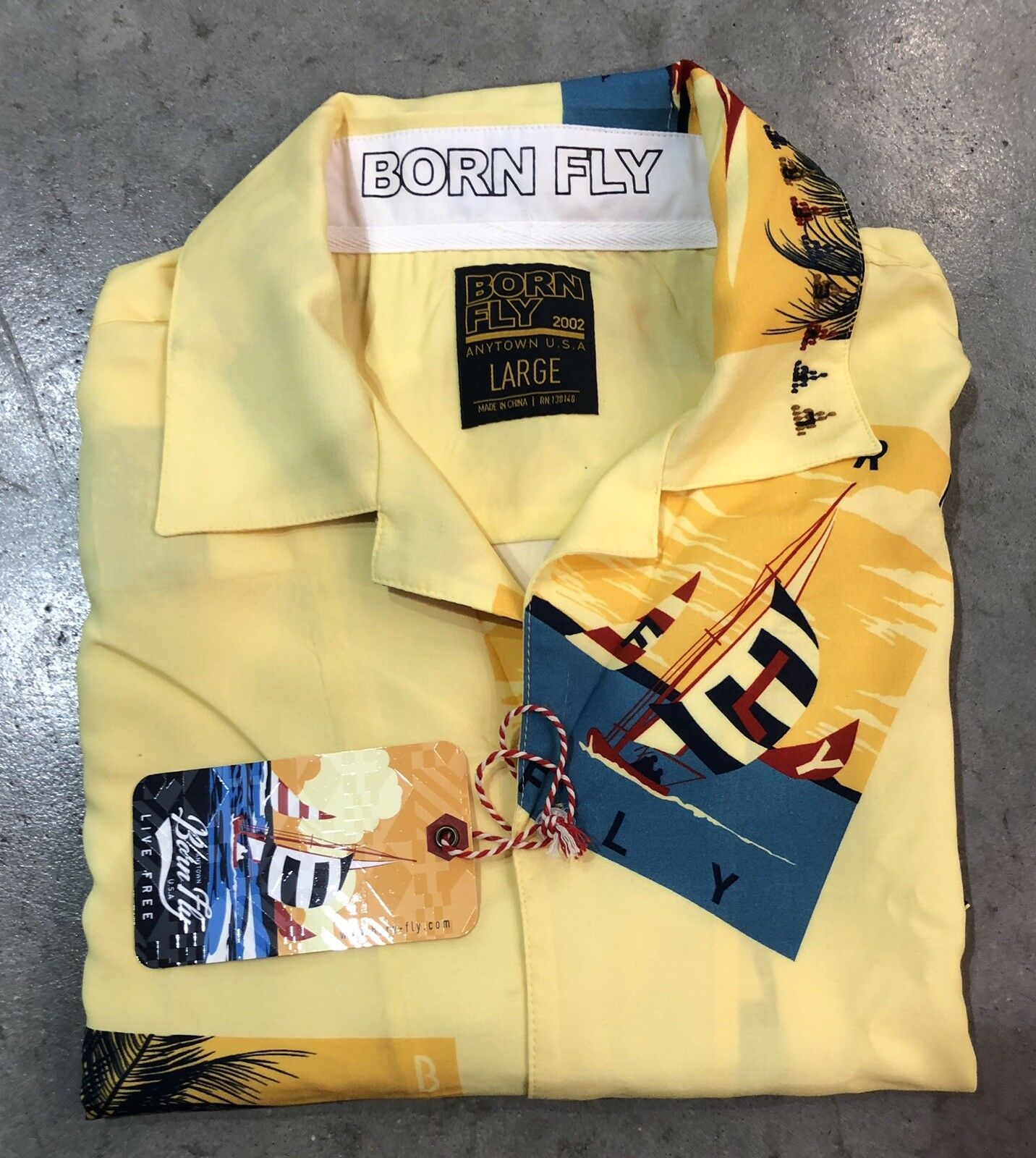Born Fly Live Free Button Up In Yellw Sz. Large Retail   NWT 100% Authentic