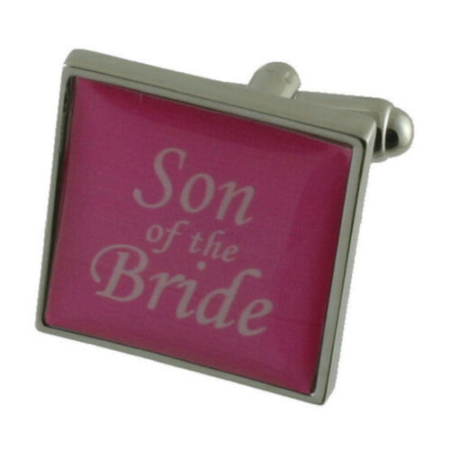 Son Bride Pink Colour Wedding Cufflinks Gift Boxed