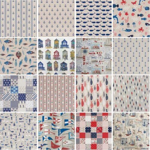 Nautique /& Ocean Life en lin Look tissu collection 18 Designs 140 Cm Large