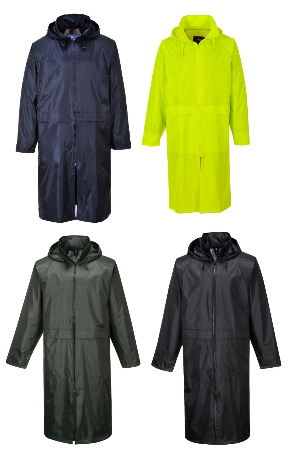 Portwest S438 Classic Adult Long Lightweight Waterproof Rain Coat Jacket Vented