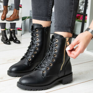Womens Ankle Boots Ladies Casual Zip Lace Up Comfy Goth Punk Army Combat Shoes