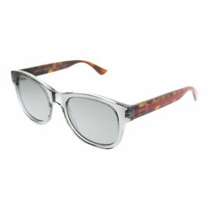 11c8a56a7c0 Gucci GG 0003S 005 Grey Transparent Plastic Square Sunglasses Silver ...