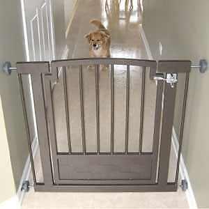 Dog Gate Metal Indoor Pressure Mounted Pet Barrier Doorway