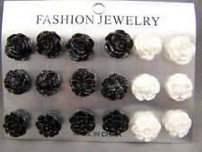 Black White set pack of 9 pair flower rose plastic post stud earrings metal back