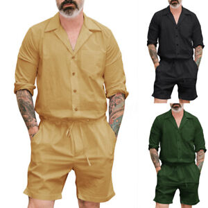 NEW-Men-039-s-Short-Sleeve-Jumpsuit-Cargo-Pants-Rompers-One-Piece-Playsuits-Shorts