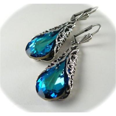 Luxury Stylish Blue Sapphire Feather Drop Dangle Wedding Engagement Earrings