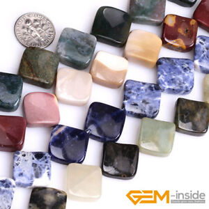 Natural-Assorted-Stone-15mm-Square-Twist-Beads-For-Jewelry-Making-Strand-15-034-YB