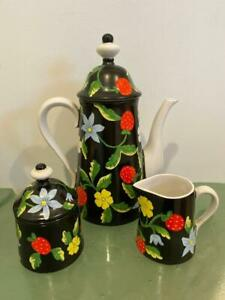 Bergdorf-Goodman-Exclusive-Vtg-Coffee-Pot-5-Pc-Set-Italian-Pottery-Strawberry