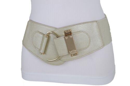 Women Fashion Wide Elastic Champagne Belt Hip Waist Gold Metal Hook Buckle S M