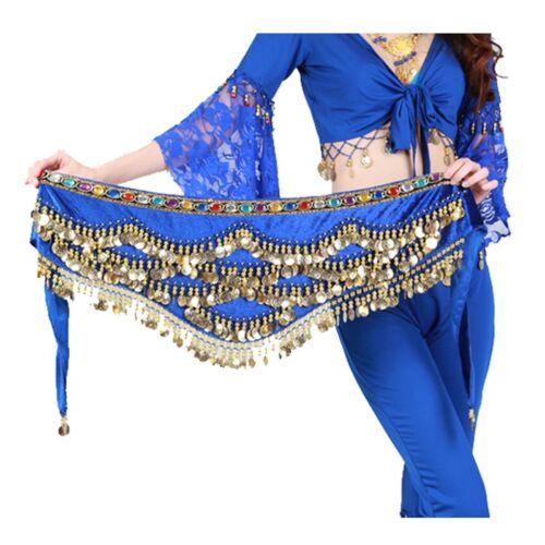 Rhinestone Gems Velvet Coin Belts Belly Dance Hip Scarf Skirt Costume Wrap NEW