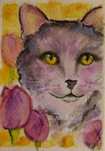 ACEO-Black-Cat-amp-Tulips-Kitten-Animal-Pet-Flowers-Artwork-Watercolor-Painting
