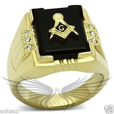 Men's Masonic Freemason Ring Gold Plated Agate Crystal Accented TK795