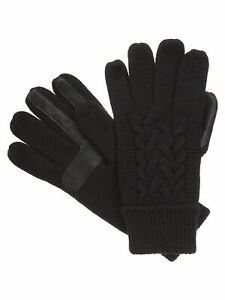 Isotoner-Womens-Cable-Knit-SmarTouch-Touchscreen-Texting-Gloves-Black-One-Size