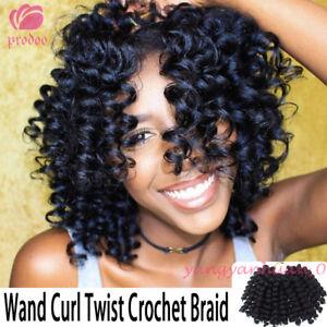 "8"" Jumpy Bounce Wand Curl Hair Crochet Braids Synthetic Hair Extensions Black"