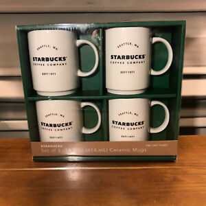Details About New 4 Starbucks Coffee Company 14 Ounce Oz Stackable Ceramic Mugs Gift Set