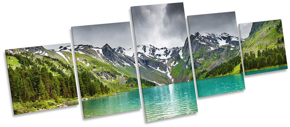 Mountain Lake landscape framed Tela Stampa Cinque Pannello Pannello Pannello Wall Art ad304e