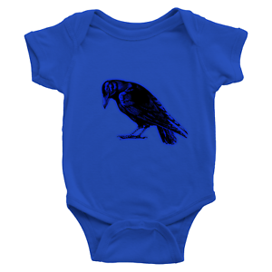 Infant-Baby-Rib-Bodysuit-Jumpsuit-Romper-Clothes-Beautiful-Black-Crow-Raven-Bird